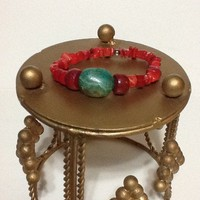 Gorgeous red coral and turquoise bracelet stretch cord large turquoise