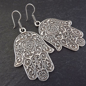 Hamsa Hand of Fatima Statement Tribal Ethnic Silver Earrings - Authentic Turkish Style