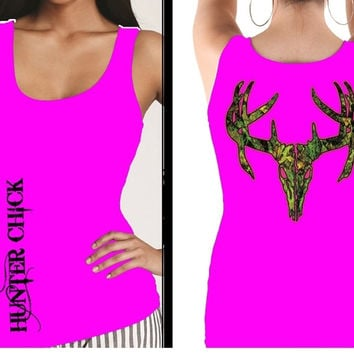 Country Life Outfitters Hunter Chick Pink Camo Realtree Deer Skull Head Hunt Vintage Bright Fitted Tank Top Shirt