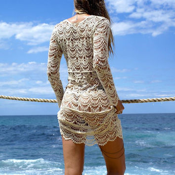 2017 Sexy Beach Cover up Crochet White Swimwear Dress Ladies Bathing Suit Cover ups Beach Tunic Saida de Praia