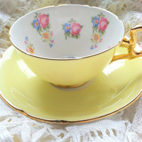 Vintage Signed Royal Grafton Bone China Teacup and Saucer/Made in England/Buttercup Yellow