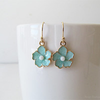 Mint Green Flower Earrings - Sakura Flower Earrings - Polished Gold Plated Over Brass - Cherry Blossom Floral Earrings