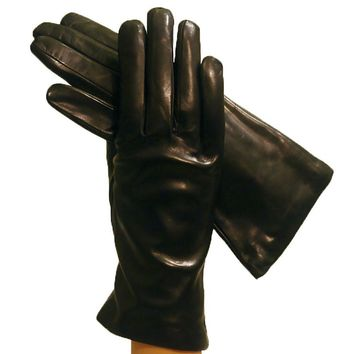 Black Simple but Elegant Italian Leather Gloves Cashmere-lined    (NSP)