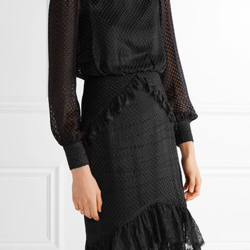 Saloni - Isa lace-trimmed fil coupé dress