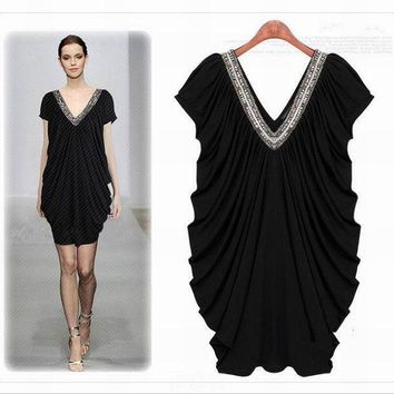 PEAPGB2 Dress Summer Women loose style plus size clothes Short sleeve Black Solid Deep V neck High Quality fashion design Free shipping