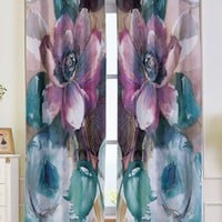 2Pcs Floral Window Blackout Curtain For Bedroom