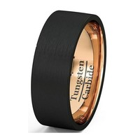 Black Male Ring Rose Gold Plated Wedding Band Tungsten Carbide Ring 8mm Man Women Anniversary Jewelry
