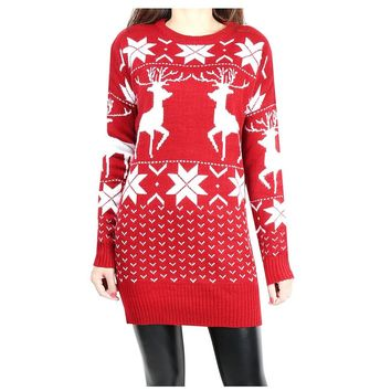 Women long sleeve snowflake fawn pattern ugly christmas sweater Pull femme Fashion 2018 pullover knitted cashmere sweater