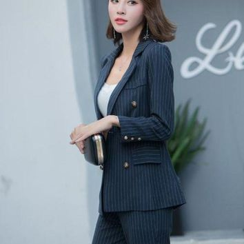 DCCKON3 Womens business pants suits striped slim blazer coat and pants ladies casual pocket 2 pieces set l1627