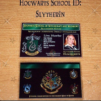 Hogwarts School ID laminated Slytherin by CustomCuriosities