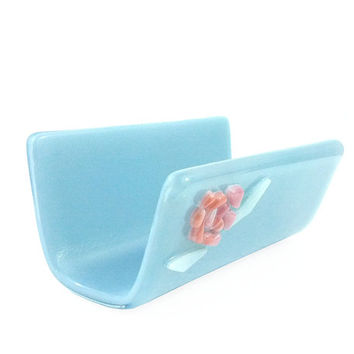 Business Card Holder Light Blue with Pink Rose Mosaic - Fused Stained Glass