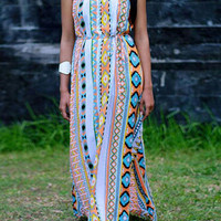 Multicolor Printed Cut Out Maxi Dress