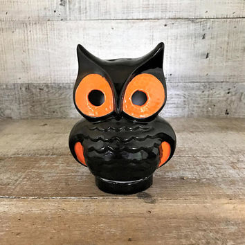 Owl Candle Holder Ceramic Owl Figurine Retro Owl Tealight Holder Halloween Owl Collectible Ceramic Mid Century Black and Orange Owl