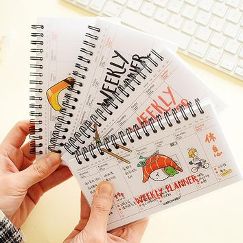 4 pcs/Lot Mini sashimi week plan memo book 80 sheets weekly daily planner Salmon sushi notebook Stationery School supplies 6501