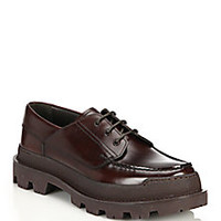 Prada - Rois Lug Sole Spazzolato Leather Derby Shoes - Saks Fifth Avenue Mobile