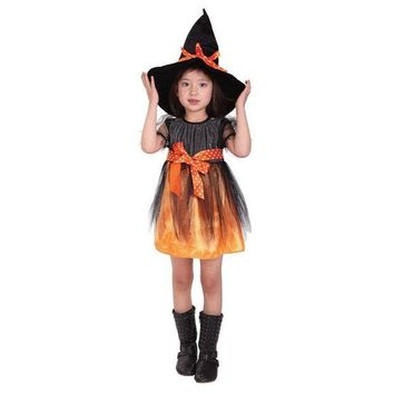 DCCKH6B 2017 New Kids Girls Orange Witch Cosplay Halloween Costumes for Children Kids Dress Hat Fancy Fantasia Infantil Clothing