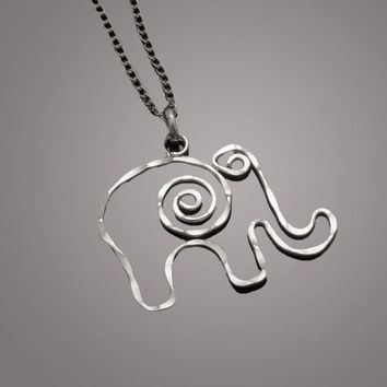 Silver Plated Elephant Pendant Necklace