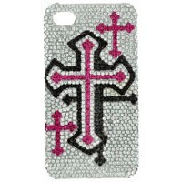 Blazin Roxx ™Pink Cross Bling iPhone 4S Cell Phone Cover