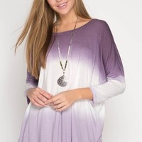 Color Dipped Tunic Top - Purple