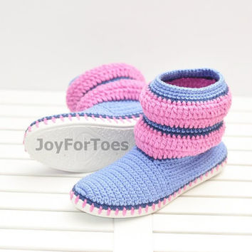 Crochet Women Boots Slippers for the Street Purple Blue Stripe