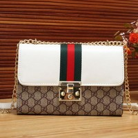 Gucci Fashion Women GG Leather Print Metal Leather Chain Shoulder Bag Crossbody White I