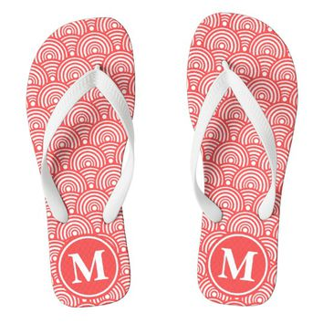 Red Fish Scale Monogrammed Flip Flops