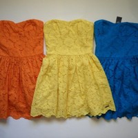 NWT Abercrombie & Fitch By Hollister Womens yellow Orange Blue Sun dress S M L