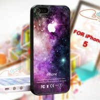 Purple Galaxy Nebula Apple Logo - Photo On Hard Cover For iPhone 5
