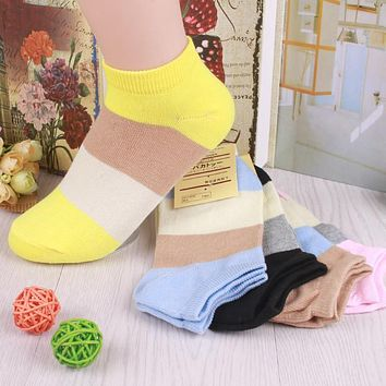 CRAZY FLY 2017 New Fashion Leisure Striped Socks Candy Color Stealth Socks Mother's Day gift