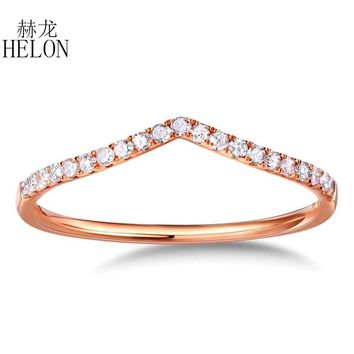 HELON Real Diamonds Band Women's Fine Jewelry Solid 10K Rose Gold Pave Natural Diamonds Engagement Wedding Eternity Fine Ring
