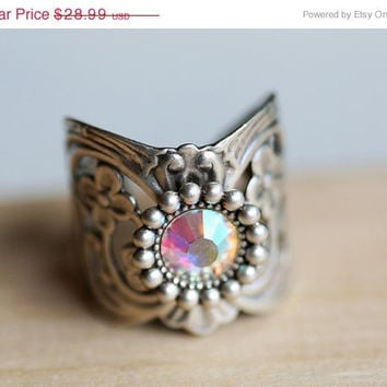 on sale Ring, Silver Spoon Ring,Swarovski Antique Style Ring,Silver Ring,Wrapped,Adjustable,Bridesmaid.