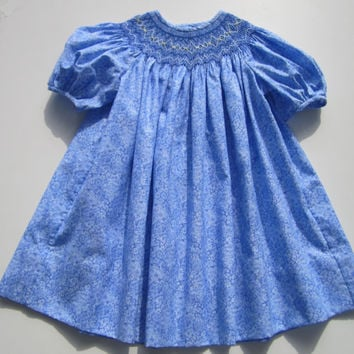 12 Month Hand Smocked Baby Toddler Blue Print Dress