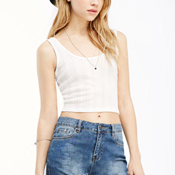 Pointelle Knit Crop Tank