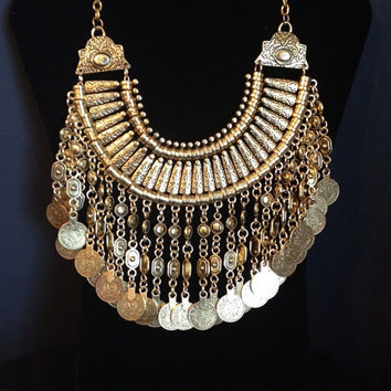 Turkish Bohemian Statement Gypsy Gold Coin Necklace