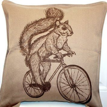 Woodland SQUIRREL on Bicycle Throw Pillow by darkcycleclothing