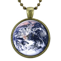Planet Earth Necklace, Space Jewelry, Galaxy Pendant