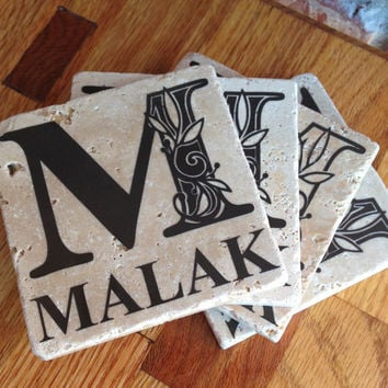 Custom Monogram Ceramic Tile Coasters with Brown Vinyl Lettering 4X4 - Set of 4