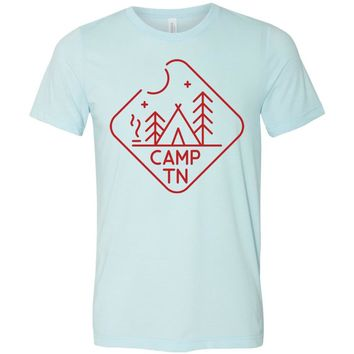 Adult Camp TN on a Heather Ice Blue T-Shirt