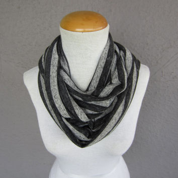 Striped Infinity Scarf - Black and Grey Circle Scarf - Striped Jersey Circle Scarf - Striped Cowl