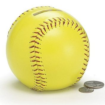 Yellow Ceramic Softball Piggy Bank Great Gift Idea