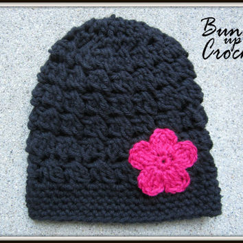 Baby Crochet Hat Baby Girl Beanie Newborn Crochet Toddler with Flower