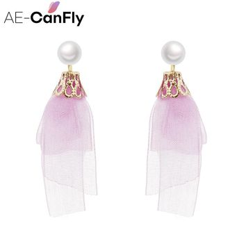 Sweet Multicolor Lace Dangle Drop Earring For Women Simulated Pearl Summer Beach Long Tassel Earring  Fashion Jewelry EX269