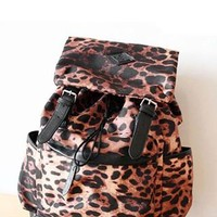Punk Style Leopard Print Fashion Backpack-black from styleonline