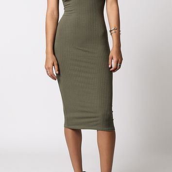 Divine Mock Neck Midi Dress