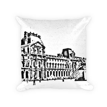 Louvre Museum Woven Cotton Throw Pillow