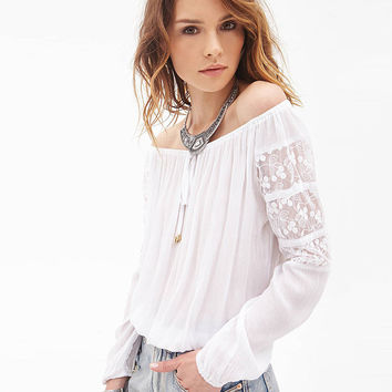 White Off Shoulder Ruched Lace Panel Loose Chiffon Top