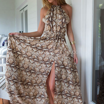 Snake Print Halter Sleeveless Maxi Dress