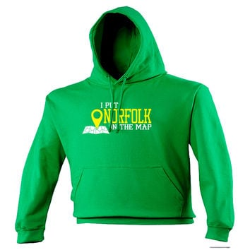 123t USA I Put Norfolk On The Map Funny Hoodie