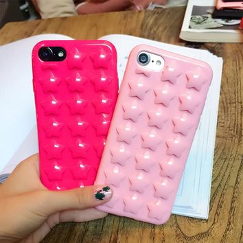 Fashion DIY 3D Stars Phone Cases For iphone 7 6 6s Plus Case Cute Candy Color Star Soft TPU Silicon Back Cover With Lanyard Capa