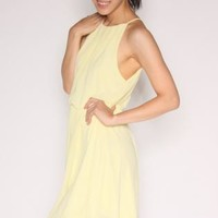 High Neck Skater Dress-Yellow